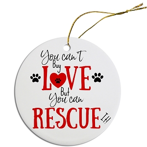 Round Christmas Ornament Can't Buy Love, can Rescue It