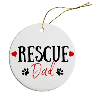 Round Christmas Ornament Rescue Dad