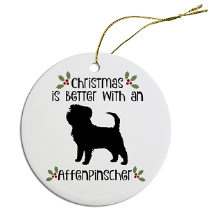 Breed Specific Round Christmas Ornament Affenpinscher