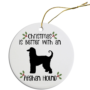 Breed Specific Round Christmas Ornament Afghan Hound
