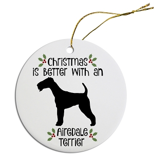 Breed Specific Round Christmas Ornament Airedale Terrier