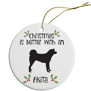 Breed Specific Round Christmas Ornament Akita