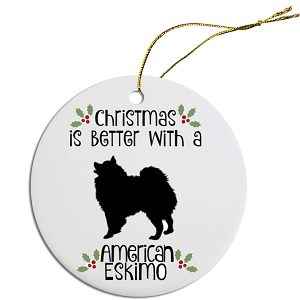 Breed Specific Round Christmas Ornament American Eskimo