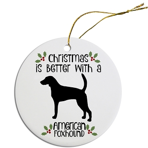 Breed Specific Round Christmas Ornament American Foxhound