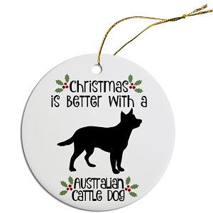 Breed Specific Round Christmas Ornament Australian Cattle Dog