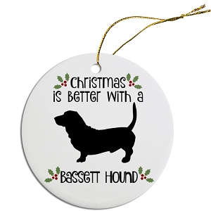 Breed Specific Round Christmas Ornament Bassett Hound