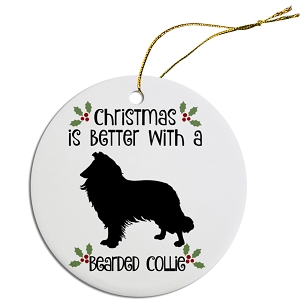Breed Specific Round Christmas Ornament Bearded Collie