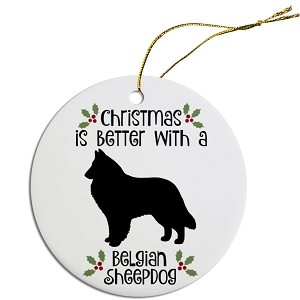 Breed Specific Round Christmas Ornament Belgian Sheepdog