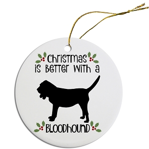 Breed Specific Round Christmas Ornament Bloodhound