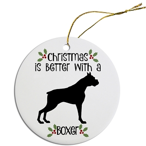 Breed Specific Round Christmas Ornament Boxer