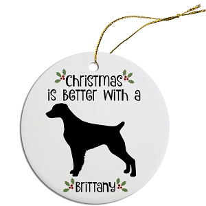 Breed Specific Round Christmas Ornament Brittany