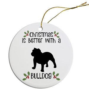 Breed Specific Round Christmas Ornament Bulldog