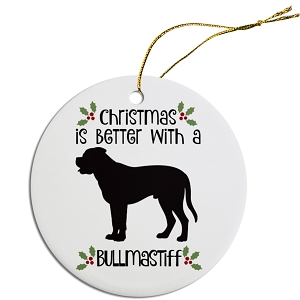Breed Specific Round Christmas Ornament Bullmastiff