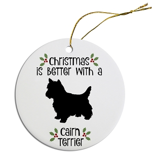 Breed Specific Round Christmas Ornament Cairn Terrier