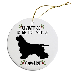Breed Specific Round Christmas Ornament Cavalier
