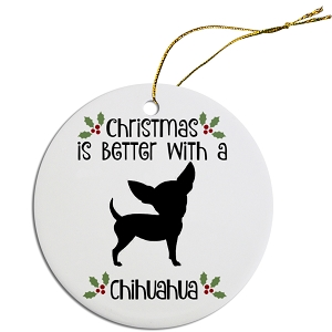 Breed Specific Round Christmas Ornament Chihuahua