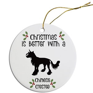 Breed Specific Round Christmas Ornament Chinese Crested