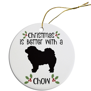 Breed Specific Round Christmas Ornament Chow
