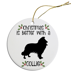 Breed Specific Round Christmas Ornament Collie