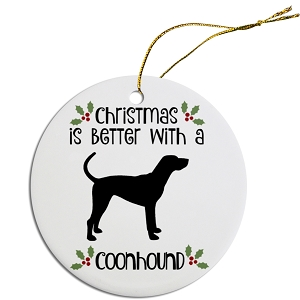 Breed Specific Round Christmas Ornament Coonhound