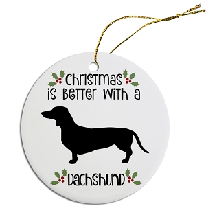 Breed Specific Round Christmas Ornament Dachshund