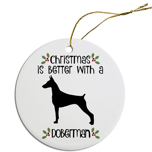 Breed Specific Round Christmas Ornament Doberman