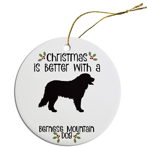 Breed Specific Round Christmas Ornament Bernese Mountain Dog