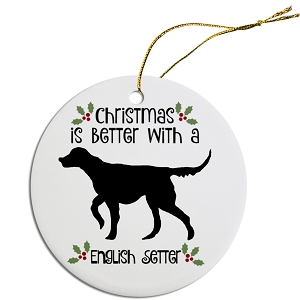 Breed Specific Round Christmas Ornament English Setter