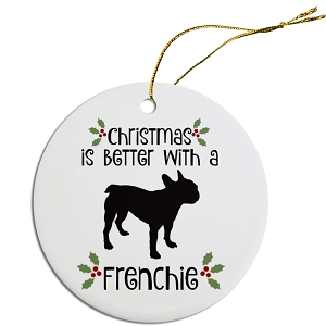 Breed Specific Round Christmas Ornament Frenchie