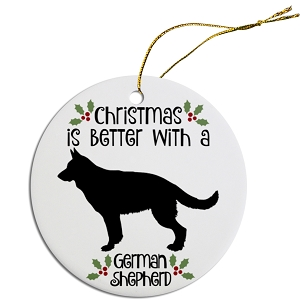 Breed Specific Round Christmas Ornament German Shepard