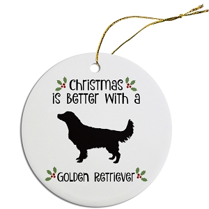 Breed Specific Round Christmas Ornament Golden Retriever