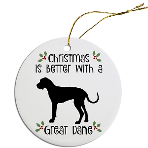 Breed Specific Round Christmas Ornament Great Dane