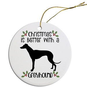 Breed Specific Round Christmas Ornament Greyhound