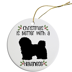 Breed Specific Round Christmas Ornament Havanese