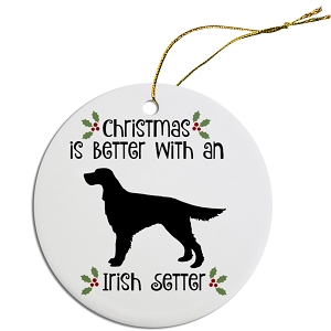 Breed Specific Round Christmas Ornament Irish Setter