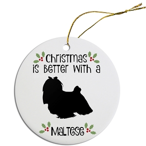 Breed Specific Round Christmas Ornament Maltese
