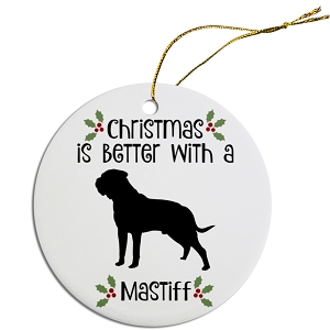 Breed Specific Round Christmas Ornament Mastiff