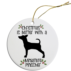 Breed Specific Round Christmas Ornament Miniature Pinscher