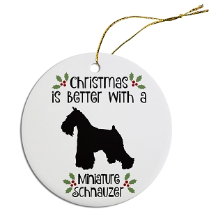 Breed Specific Round Christmas Ornament Miniature Schnauzer