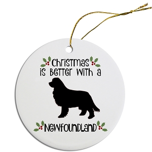 Breed Specific Round Christmas Ornament Newfoundland