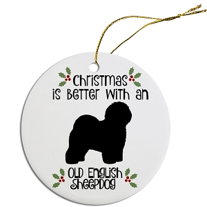 Breed Specific Round Christmas Ornament Old English Sheepdog