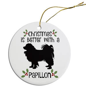Breed Specific Round Christmas Ornament Papillon