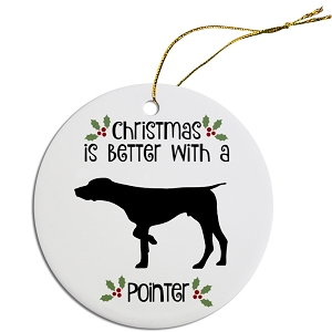 Breed Specific Round Christmas Ornament Pointer