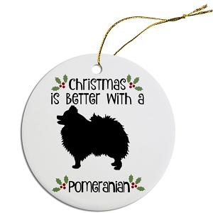 Breed Specific Round Christmas Ornament Pomeranian