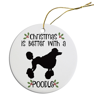 Breed Specific Round Christmas Ornament Poodle