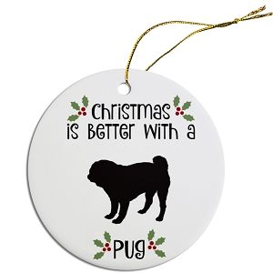 Breed Specific Round Christmas Ornament Pug
