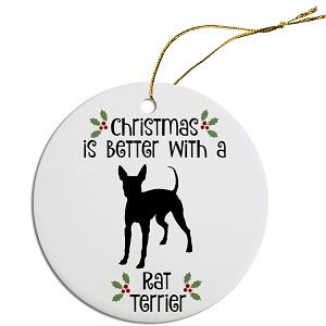 Breed Specific Round Christmas Ornament Rat Terrier