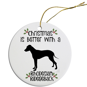 Breed Specific Round Christmas Ornament Rhodesian Ridgeback