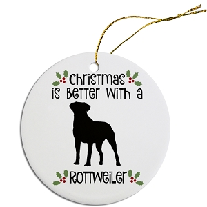 Breed Specific Round Christmas Ornament Rottweiler