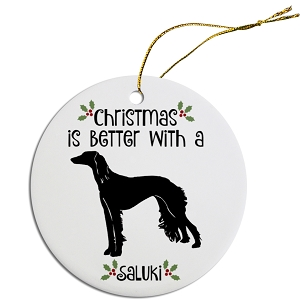 Breed Specific Round Christmas Ornament Saluki